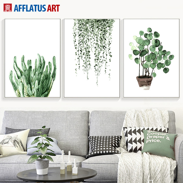 Natural Leaves Plant Nordic Poster Wall Art Canvas Painting Posters Prints Watercolor