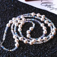 SWAN Pearl Jewelry luxury Crystal Long Necklaces Women Fashion Sweater Chain Necklace Girls Wedding Accessories Party Gift Femme