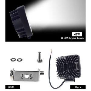 Image 5 - Nuevos faros de vehículos de 48W, 16LEDs, barra de luz blanca fría, 4 pulgadas, luz LED de trabajo para vehículos, camión para SUV qyh