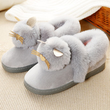 Winter Women Shoes Home Floor Soft Cotton-padded Slippers Winter Female Indoor Slippers Non-slip Cartoon Rabbit's hair Cashmere yomisoy lovely heart shaped ladies women home floor soft women indoor slippers sandals shoes female cashmere warm casual shoes