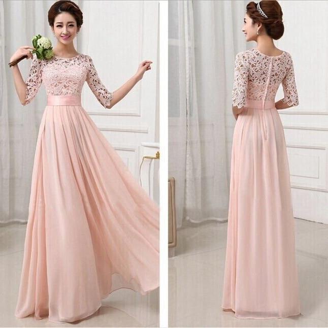 Women White Chiffon Party Dresses Ladies Floor Length Pink Formal ...