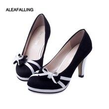 87438933b26 Aleafalling Ladies High Heels Round Toe Women Pumps 10cm Heel Bowtie Women  Shoes Flock Office Ladies
