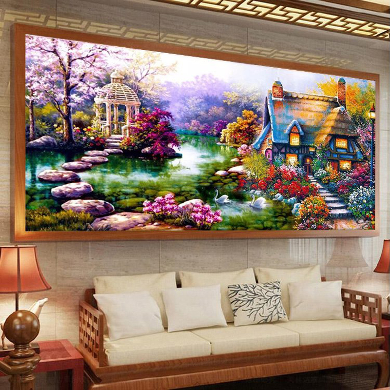 Buy 50 90cm garden crystal diy 5d diamond painting cross stitch round diamond - Garden decor stores ...