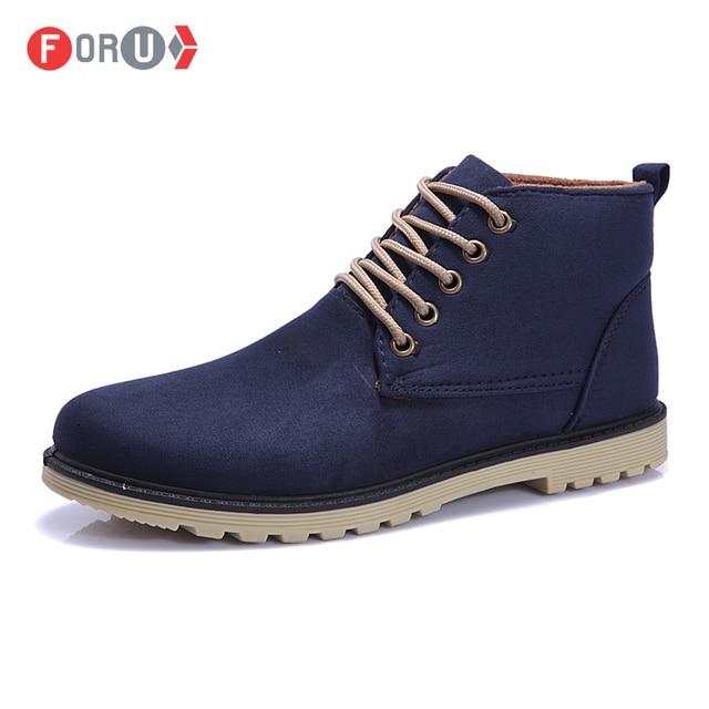 Новый 2016 искусственная кожа мужчины сапоги мода хлопок марка лодыжки ботинки ботинки для весна осень обуви