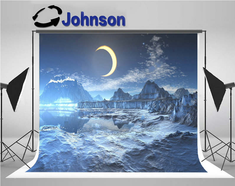 frozen lunar eclipse over planet half moon photography backgrounds Vinyl cloth High quality Computer print wall backdrop