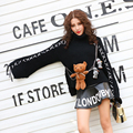 BringBring 2016 Autumn Winter New Black Pullovers with Dolls Turtleneck Turtles Loose Bandage Long Sleeve Sweater 1763