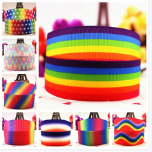 hot deal buy the 25mm new seven rainbow cartoon printed silk ribbon with 10 yards of hair accessories and accessories with a bow