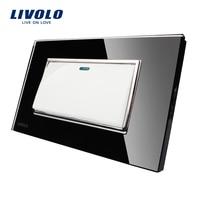 Livolo Manufacturer Black Crystal Glass Panel US Standard Luxury Push Button Switch 1Gang 2 Way VL