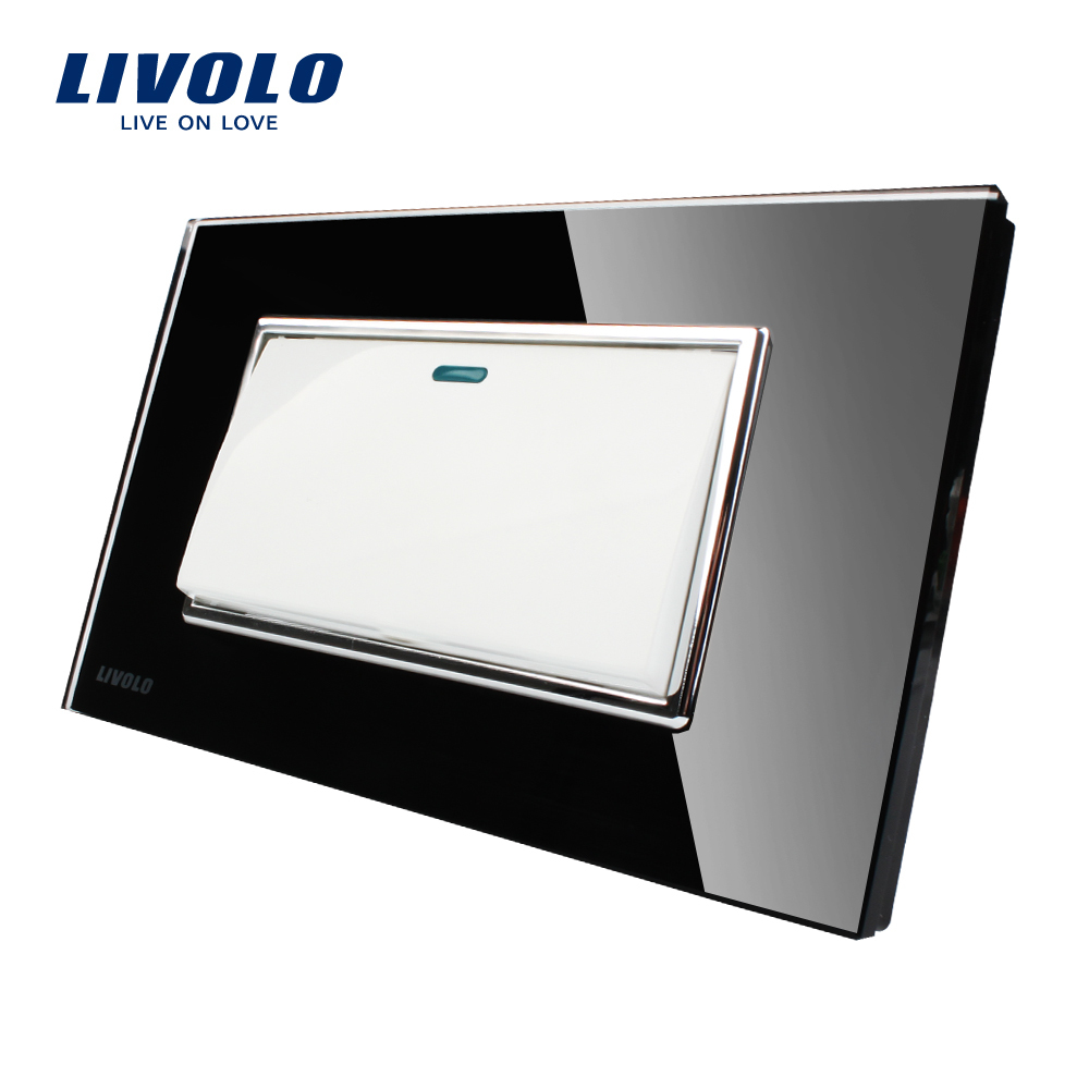 Livolo Manufacturer, Black Crystal Glass Panel, US Standard Luxury Push Button Switch, 1Gang 2 Way, VL-C3K1S-82 eu us smart home remote touch switch 1 gang 1 way itead sonoff crystal glass panel touch switch touch switch wifi led backlight