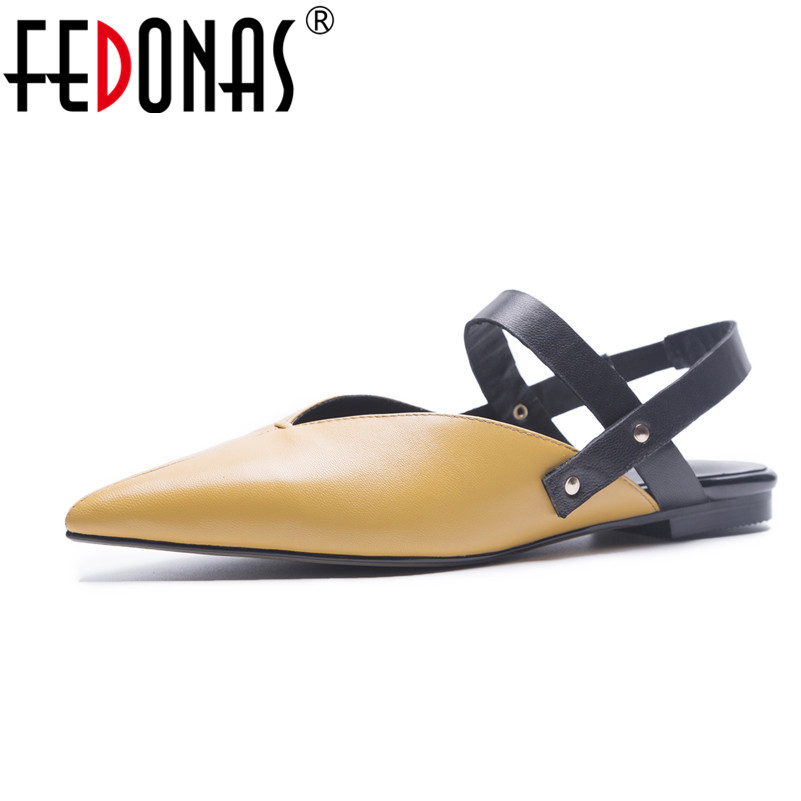 FEDONAS 2018 New Loafers Women Pointed Toe Sheepskin Casual Fashionable Popular Flats Soft Leather Slingbacks Flats Shoes Woman