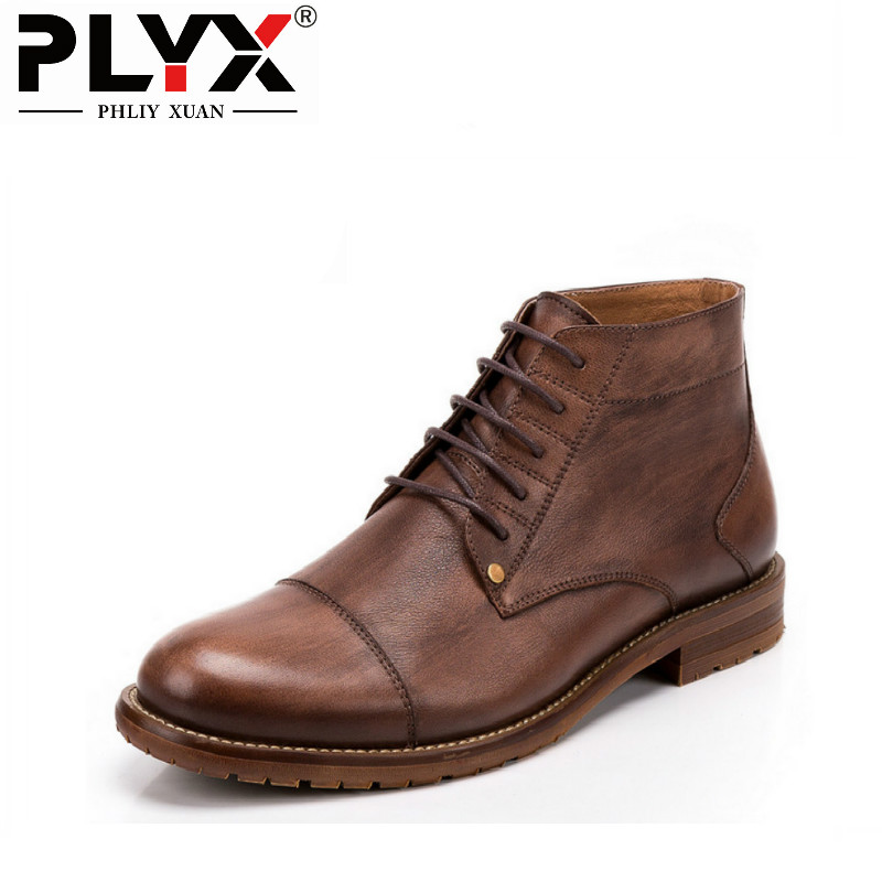 Brand PHLIY XUAN Retro New 2018 Winter Mens Boots For Men Winter Snow Boots Genuine Leather 100% Handmade Ankle Motorcycle Boots сверло по металлу hammer dr co 9 00мм 125мм