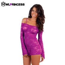 Owlprincess boat neck bodysuits sexy Lingerie Sets sex Exotic catsuit lingeries dress lace printed solid Teddies bodystocking