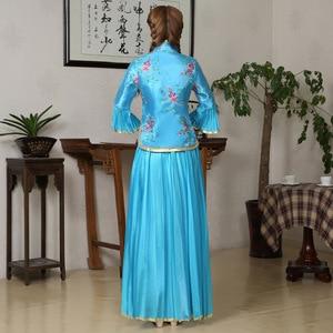 Image 5 - أنيقة المرأة الأزهار تشيباو خمر الصينية التقليدية اليوسفي طوق شيونغسام مثير الزفاف فستان وصيفة الشرف حجم كبير 3XL