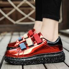 Vintage Patent Leather Bright Men Martin Shoes Couple Breathable Simple British Fashion Size36-44 cx5