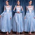 2016 New Cinderella halloween costume high quality adult princess queen blue cosplay dress Carnival  Party costumes for women