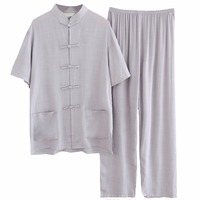 Gray Chinese Men Cotton Linen Pajamas Set Vintage Single Breasted Pyjamas Suit Short Sleeve Shirt&Full Length Pant M XXL