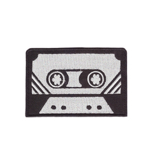 Cassette tape retro seventies music embroidered applique iron-on patch