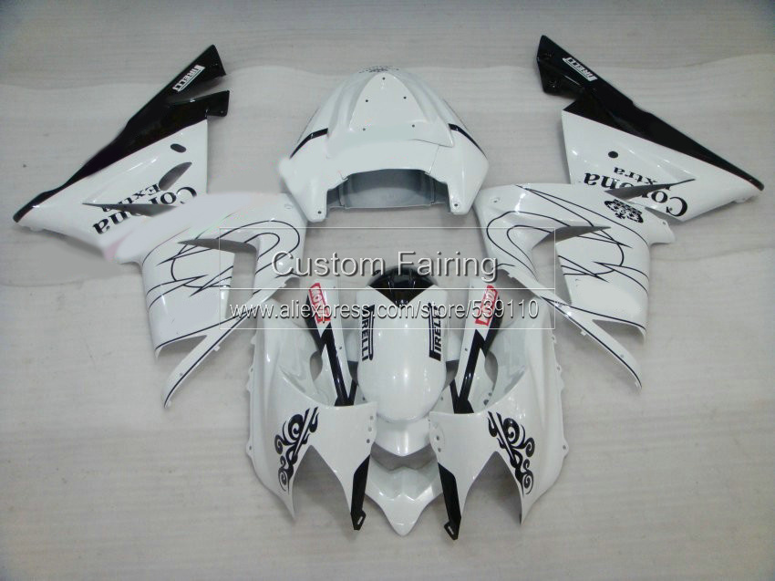 White Motorcycle Parts for Kawasaki ZX10R zx - 10r Ninja 2004 2005 / 05 04 Black line fairing kit fairings xl50 aluminum motorcycle cooler radiator for kawasaki 2004 2005 ninja zx10r china motorcycle parts and accessories