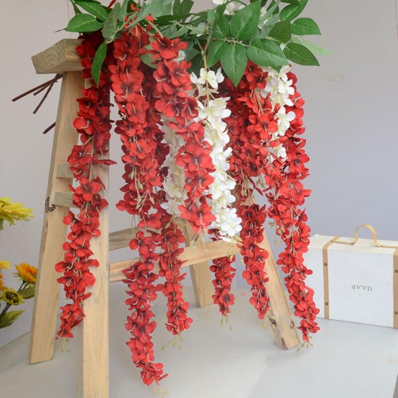 3 Heads 94cm Wedding Decoration Silk Flower Garland Artificial Flower Wisteria Vine Rattan For Party Home Garden Hotel decor