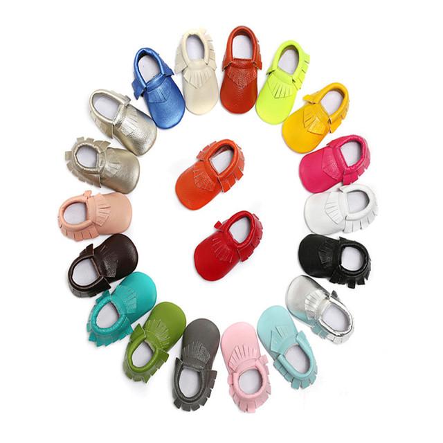 2016 Nueva Primavera Otoño Suave Suela Primeros Caminante Newborn Baby Girl Boy Franja de Cuero Genuino Mocasines Zapatos Infantiles Del Niño 0-30 M