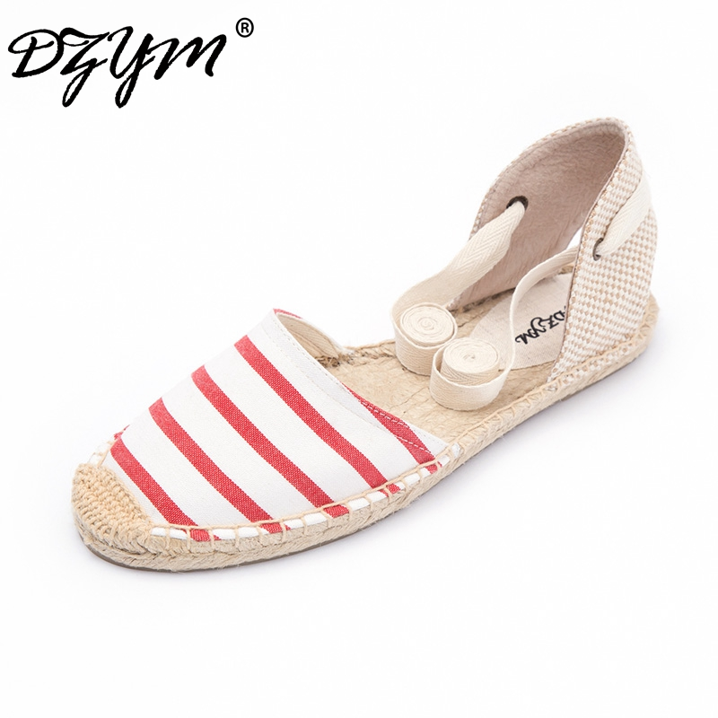 DZYM 2018 Summer Spring Gingham Classic Canvas Espadrille Women Flats Straw Smoking Shoes Ankle Strap Fisherman Shoes Zapatos