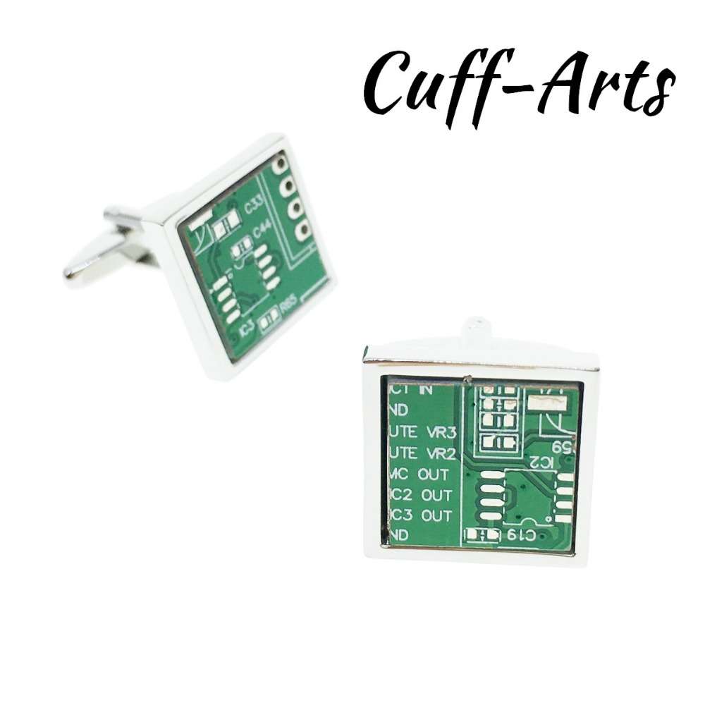 Free Shipping Exclusive New Circuit Board Style Cufflinks Cuff Nails Cuffarts Fashion Men 2018 Dress Cover Buttons Classic Green Gifts For