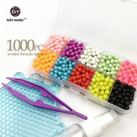15Colour Water Beads Toys Sticky Perler Beads Pegboard Set Fuse Beads Jigsaw Puzzle Water Beadbond Educational