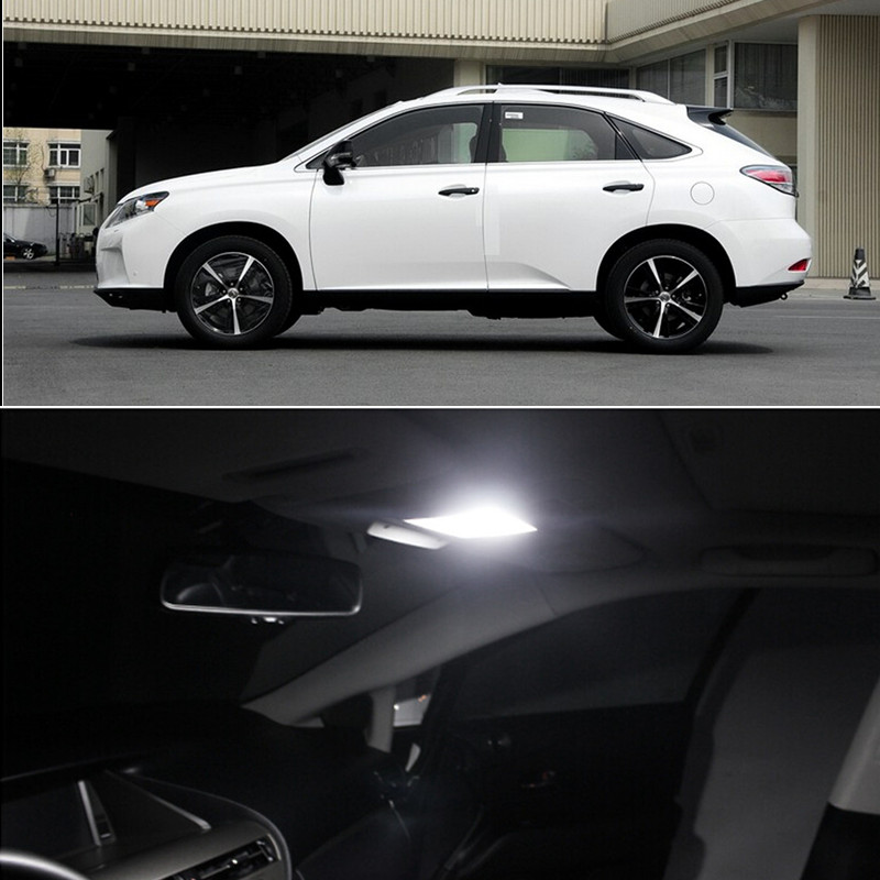 14pcs per set LED Bulb Interior Dome Vanity Mirror Footwell Trunk  Door Lights Package Kit For Lexus RX 2009-2014 Car styling led qty 4 interior footwell lights