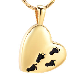 Charm Necklace-Loss Footprints JEWELLERY Memorial-Urn Engraving Ashes Heart-Cremation