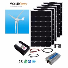 Boguang 1x 600W Wind Turbine+5X100W Solar Hybrid system DIY kit solar panel home house module mobile dc 12v/24v off grid tie