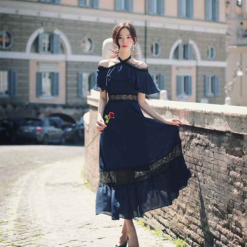Mode femmes nouveauté tempérament confortable élégant bleu dentelle robe vintage grande taille fête grandes vacances sexy a-ligne robe