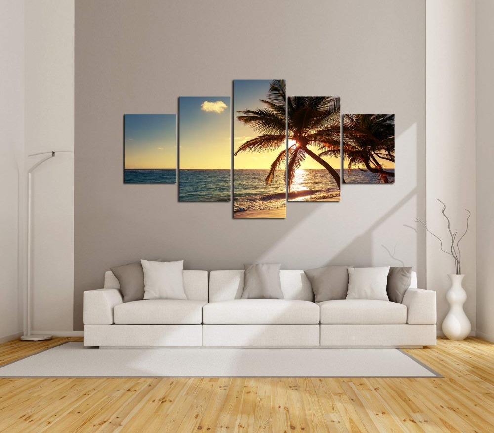 Seascape wall pictures for living room 5 Piece Coconut Tree Sunset Canvas Wall Art Decor Print Painting for Bedroom Home Decor