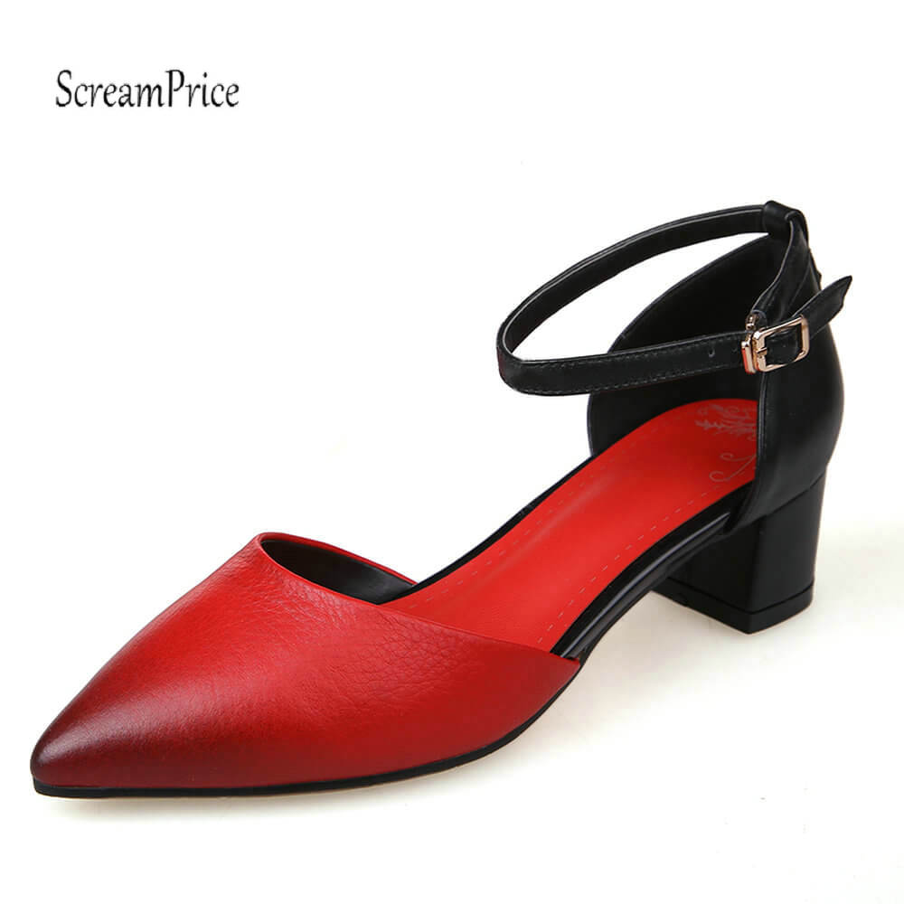 Fashion Pointed Toe Genuine Leather Thick High Heels Women Pumps Buckle Summer Casual Shoes Yellow Red women pumps flock high heels shoes woman fashion 2017 summer leather casual shoes ladies pointed toe buckle strap high quality