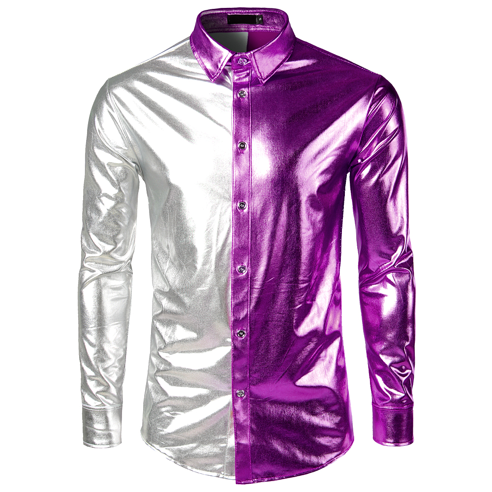Silver Purple Patchwork Shirt Men 2018 Slim Fit Shiny Metallic Mens