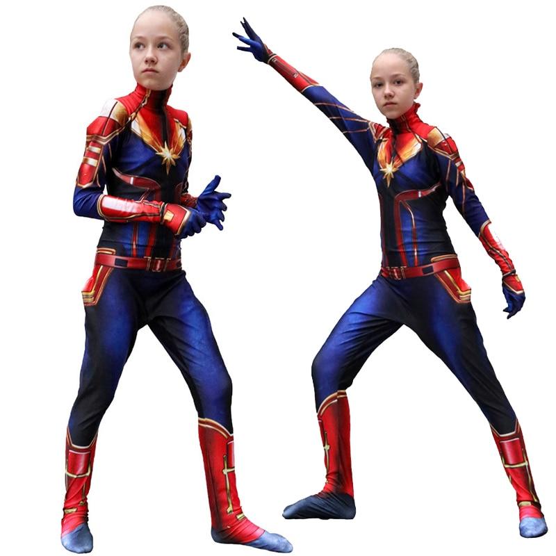 Girls Captain Marvel Cosplay Costume Children Superhero Carol Danvers Bodysuit Jumpsuit Marvel Kids Party Costume Suit