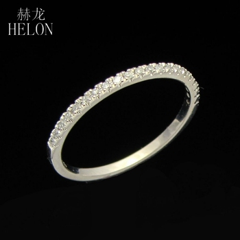 HELON Diamond Ring Real 10K White Gold Stackable Pave Brilliant Natural Diamond Band Wedding Anniversary Romantic Trendy Jewelry image