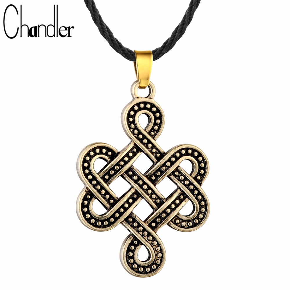 Chandler Celtic Knot Necklace Silver Irish Knot Pendant Eternity Jewelry Infinity Bow Knot Collor Classic Retro Torque Accessary