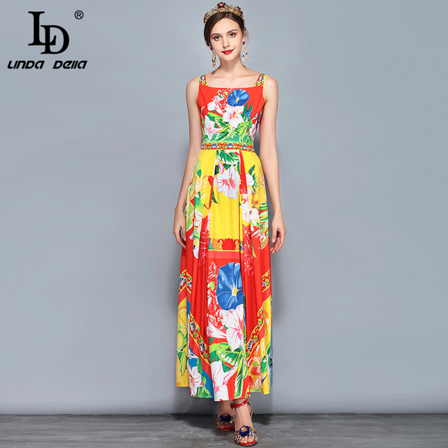 New Fashion Runway Summer Maxi Dress Women's Sleeveless Gorgeous Floral Print Casual Holiday Long Dress