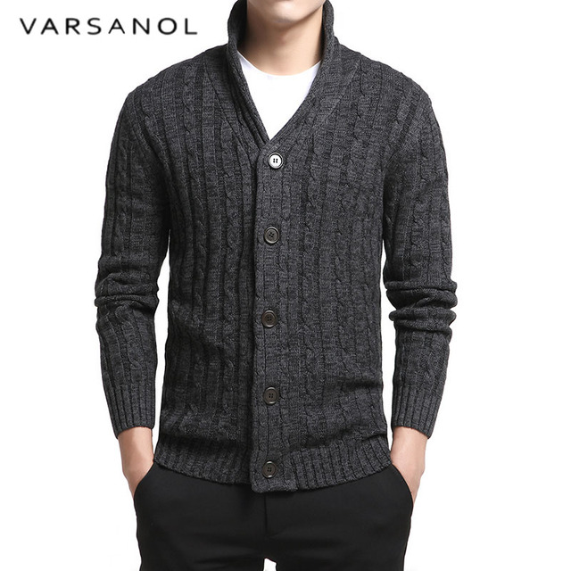 Varsnaol New Brand Sweater Men V-Neck Solid Slim Fit Knitting Mens Sweaters Cardigan Male 2018 Autumn Fashion Casual Tops Hots 1