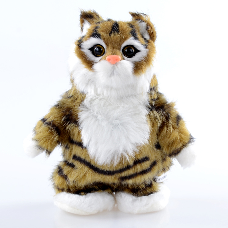 cartoon standing cat toy 18cm Electric khaki cat doll learning talk cat funny toy baby toy