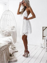 chothe 2019 women summer straps beach lace dress sexy v neck open back lace up ruffles mini dresses casual dress vestidos real rill spaghetti straps v neck homecoming dresses lace up back mini graduation dress lace top satin a line cocktail dress