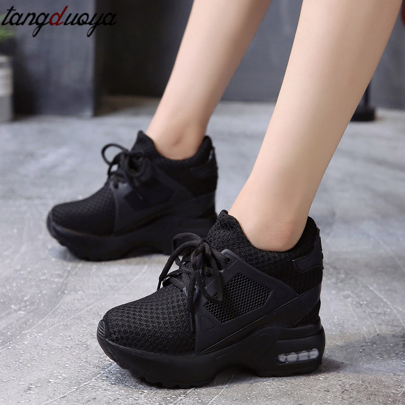 height increasing shoes woman platform sneakers women breathable casual shoes women wedge shoes black red basket femme 2019 Сникеры
