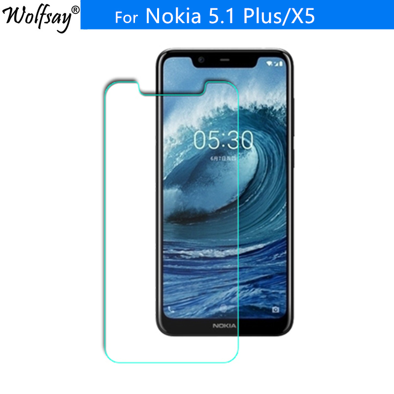 2PCS For Tempered Glass <font><b>Nokia</b></font> <font><b>5.1</b></font> Plus <font><b>Screen</b></font> <font><b>Protector</b></font> <font><b>Nokia</b></font> X5 Glass Clear Toughened Protective Film For <font><b>Nokia</b></font> X5 9H Wolfsay image