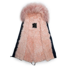 Korean design winter men long style wool coat hooded cashmere jacket pink lined parka
