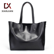 Xianjian Lady Large Volume 2pcs set cowhide leather tote handbag super soft real leather tote bags