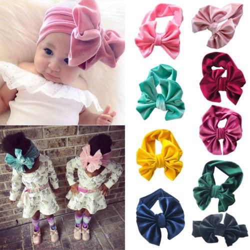 Toddler Girls Baby Kids Turban Solid Headband Hair Band Bow Accessories Headwear