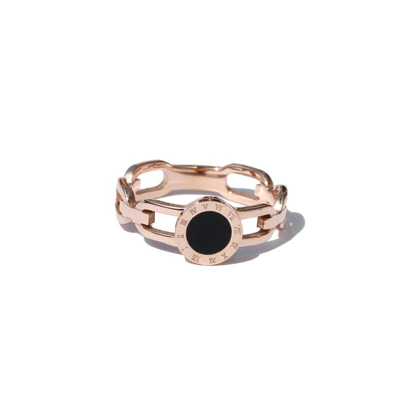 YUN RUO 2018 римская цифра черное кольцо розовое золото цвет модные ювелирные изделия из титановой стали свадебное кольцо подарок на день рожден...