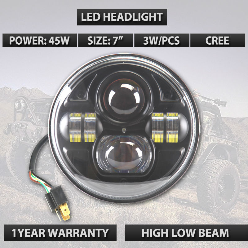 Round H4 H/L 745W led light for JP  JK TJ wrangler black car styling automobiles lamps adaptor free xs black l exces w edp