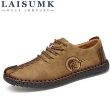 2019 LAISUMK New Fashion Comfortable Men Flat Shoes Lace-up Solid Male Causal Footwear Huarache Hot Sale SIZE 39-46