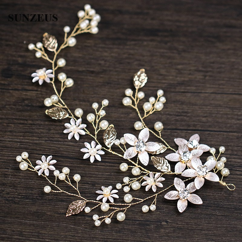 New Gold Headpiece Hand-made Flowers Pearls Leaves Bridal Head Accessory Wedding Decoration For Hair SQ0287